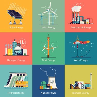 icons on electricity generation plants and sources