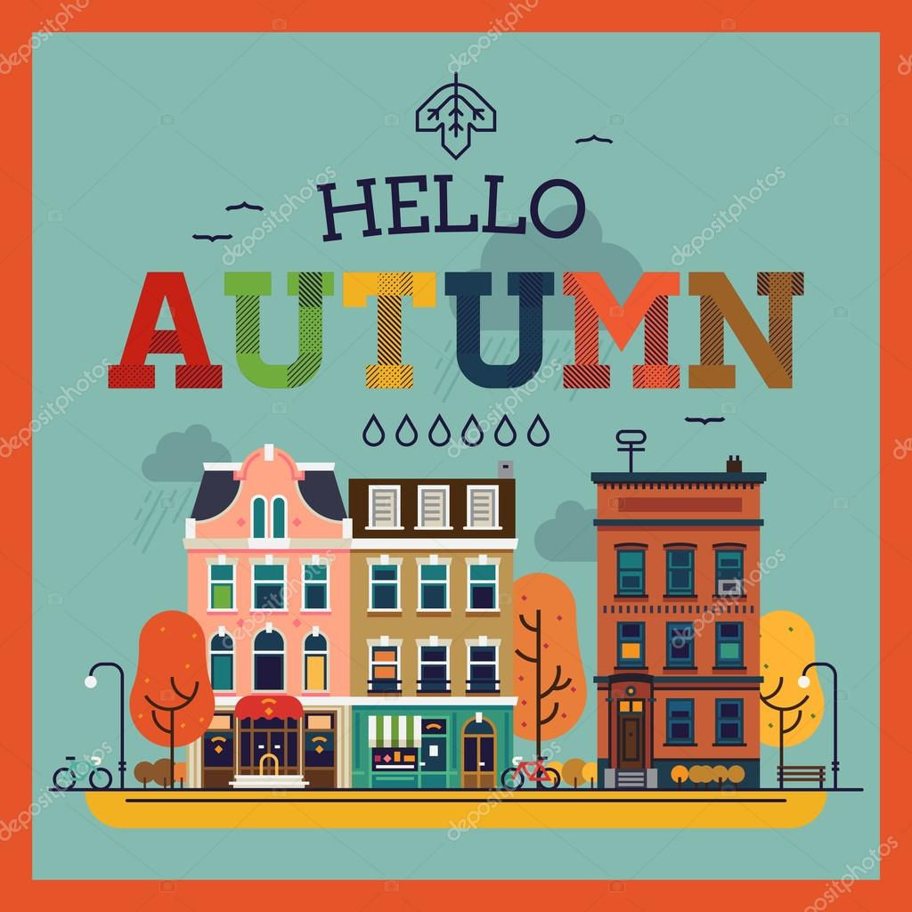 Beau Colorful Vector Hello Autumn Seasonal Background With Autumn City Landscape  | Autumn Greeting Card, Banner Or Poster Template U2014 Vector By Masha_tace