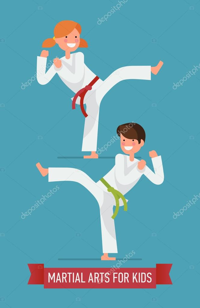 Karate boy and girl characters