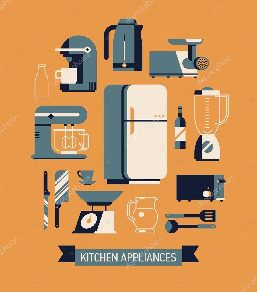essential kitchen appliances set — Stock Vector © masha_tace #84357292