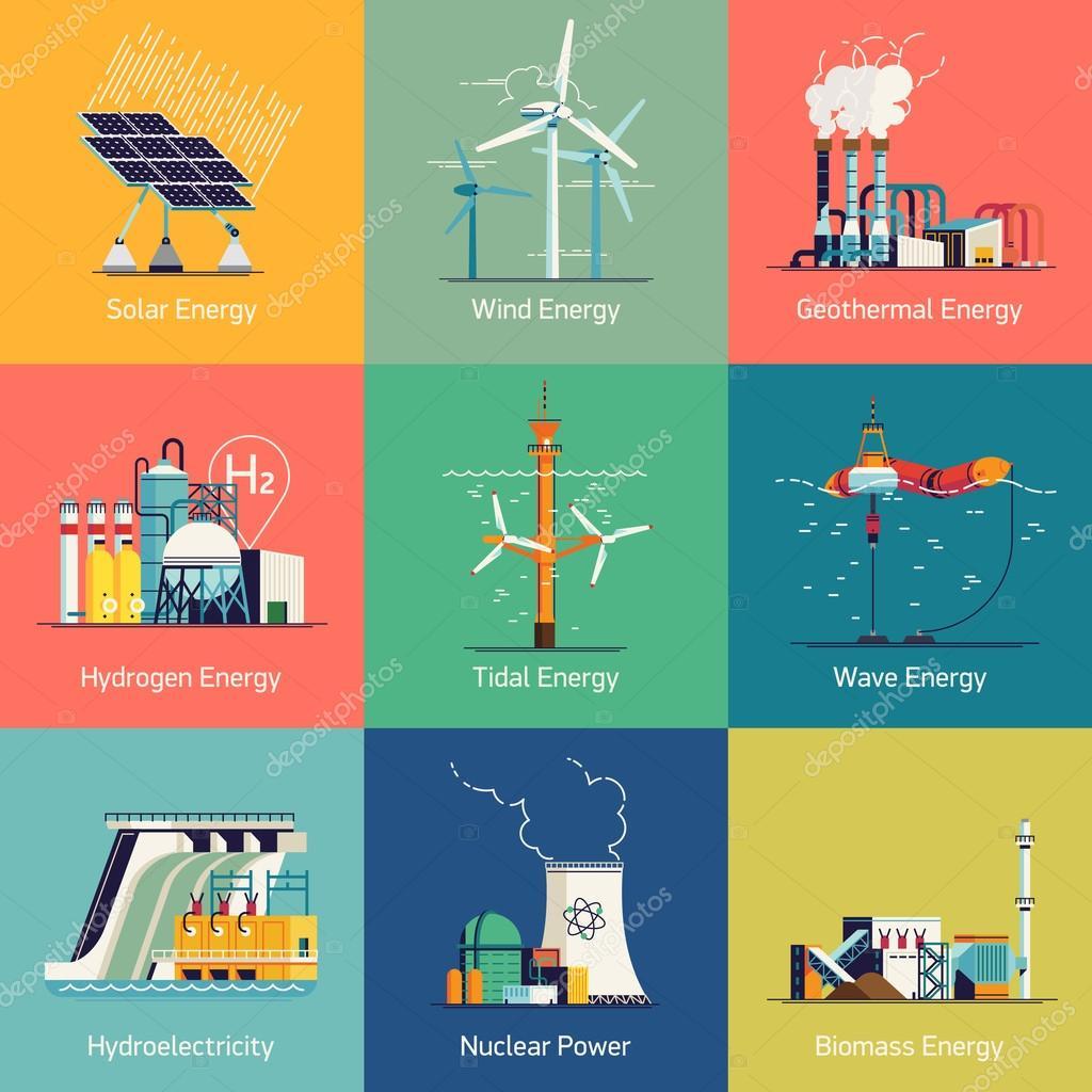 Icone Su Impianti Di Generazione Di Energia Elettrica E