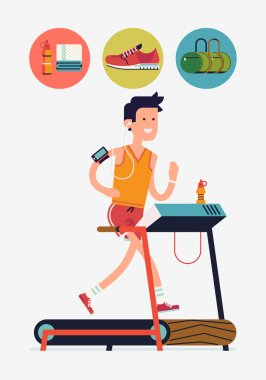 Cool vector flat design on young adult man running on treadmill in fitness gym with essential running round icons with water, towel, sport bag, shoe | Sport fitness friendly female character running stock vector