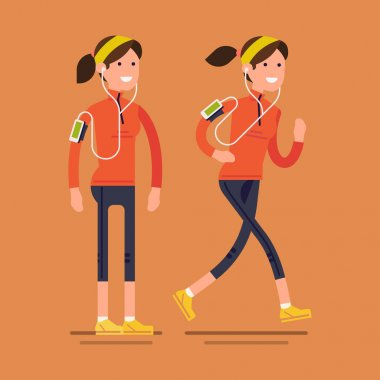 running woman in fall autumn clothing