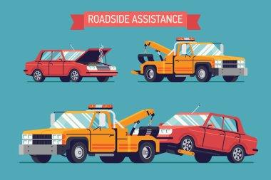 car and crane towing wrecker truck