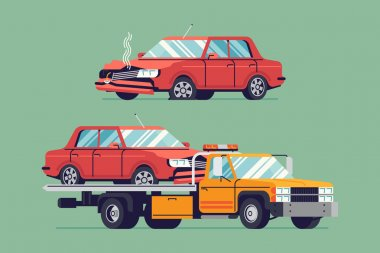 flatbed towing truck and car