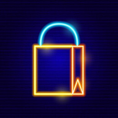 Neon Shopping Bag Icon. Vector Illustration of Shop Object. icon
