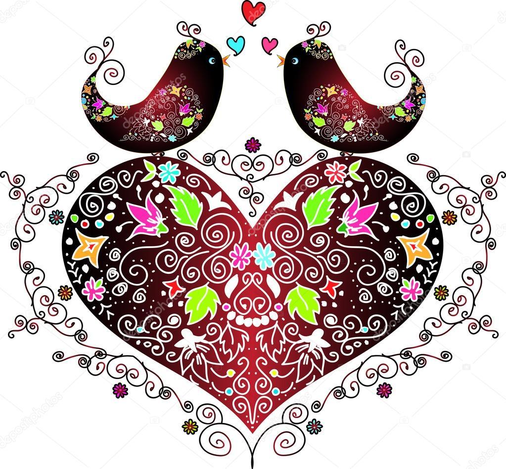 Love birds on a heart
