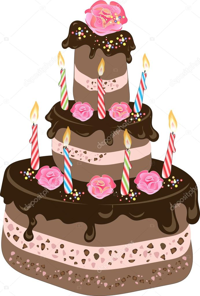 An Illustration Of A Three Tiered Chocolate Birthday Cake With Frosting Candles Cream Rose Flowers And Colorful Sprinkles Vector By
