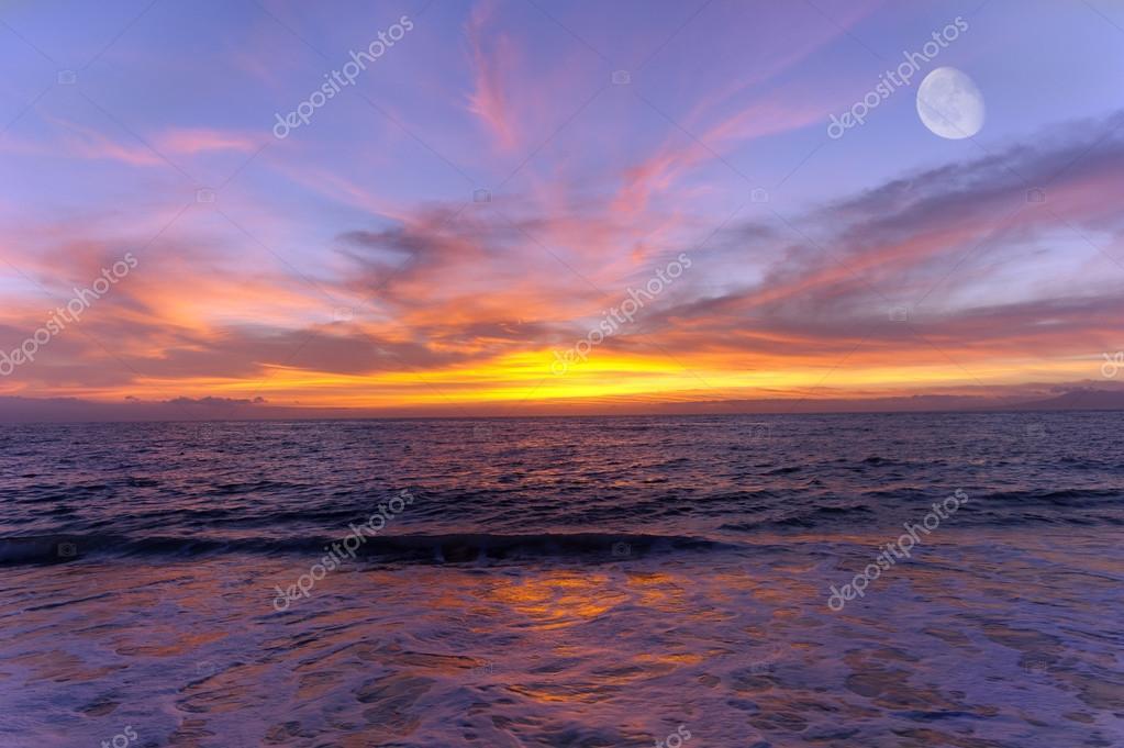 Ocean Sunset Moon