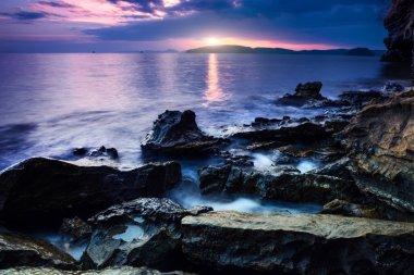 Andaman sea. Sunset on coast of Krabi