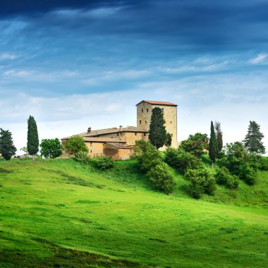 Summer landscape with villa. Italy