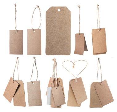 Set of brown blank price tags