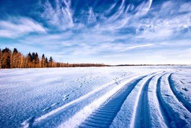 Tracks of snowmobile on snow