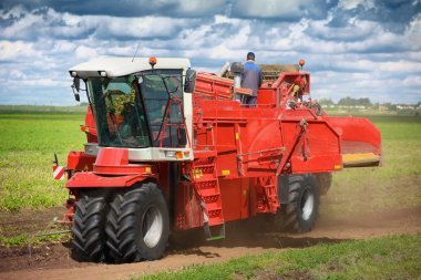 Modern agricultural machinery for planting and harvesting vegeta