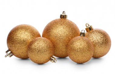 Group of golden christmas balls