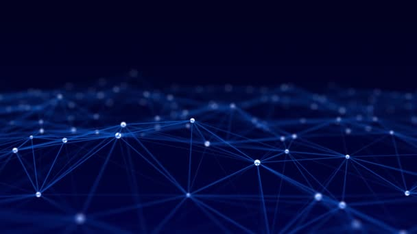 Abstraktes Netzwerk aus miteinander verbundenen Punkten und Linien. Perspektivenraster. Big Data. Digitaler Hintergrund. Nahtlose Schleife. 3D-Rendering.