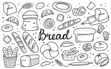 Bread doodle set. Bakery products, hand drawn baguette, croissant and bagel, line pastry cake and donut. Vector cartoon black and white icons collection. Illustration for menu, frame, recipe design icon