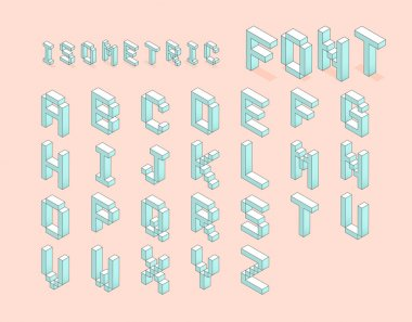 Isometric font set. digital pixel isometric font set. vector sto