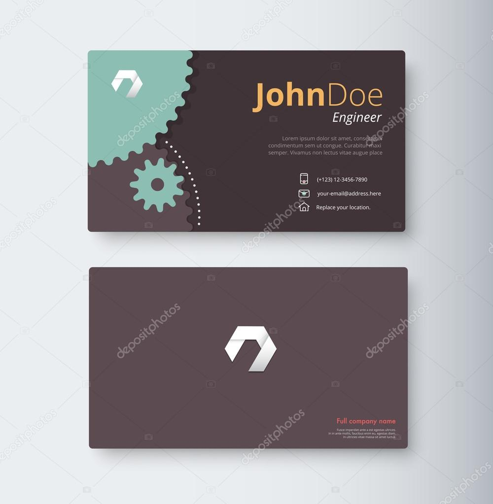 Engineer business card template. gear business card. vector stoc ...