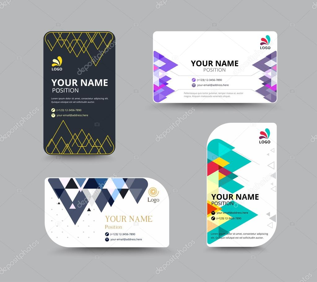 Business card template with Triangle abstract concept and commer ...