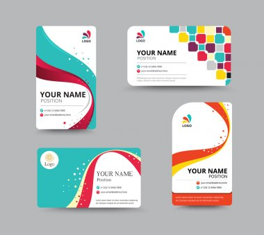 Business card template design with floral concept. vector illust