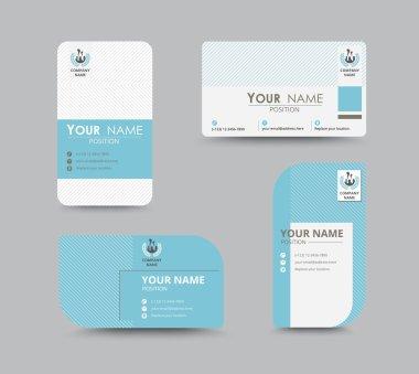 Blue business contact card template design. vector stock