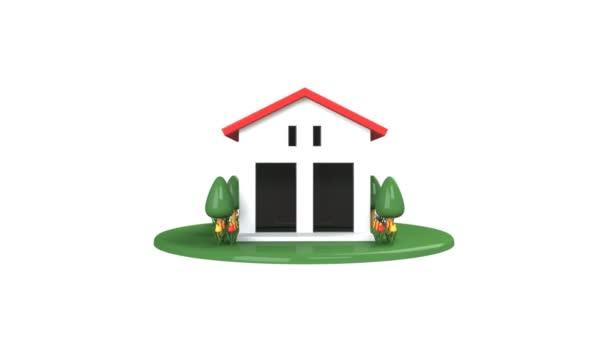 durch die Tür des Hauses mit dem roten Dach.