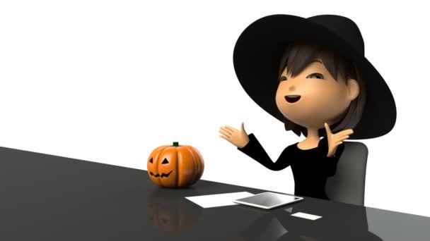 Women Halloween costume speaking in response to the interview