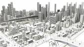 Vonalas rajz város madártávlati megtekintés