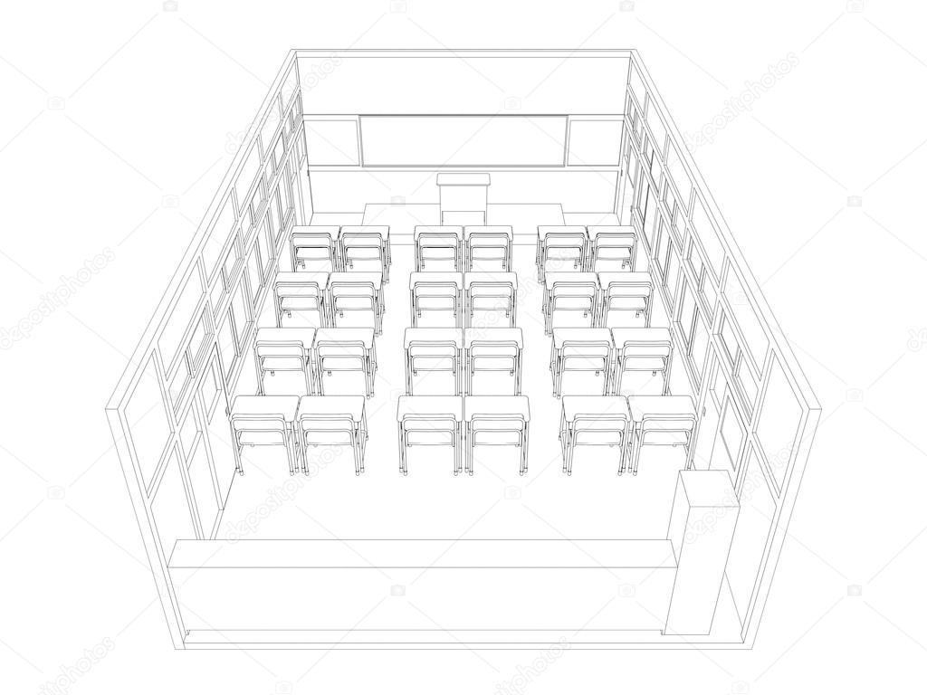 Línea De Dibujo Del Salón De Clases