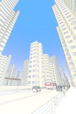 High-rise buildings and roadway