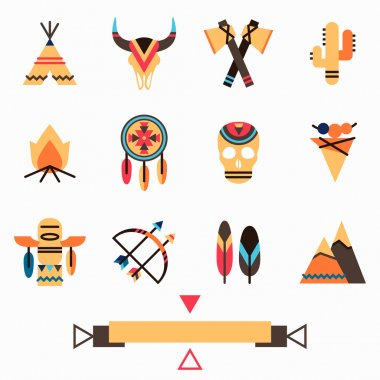 Tribal colorful icons set