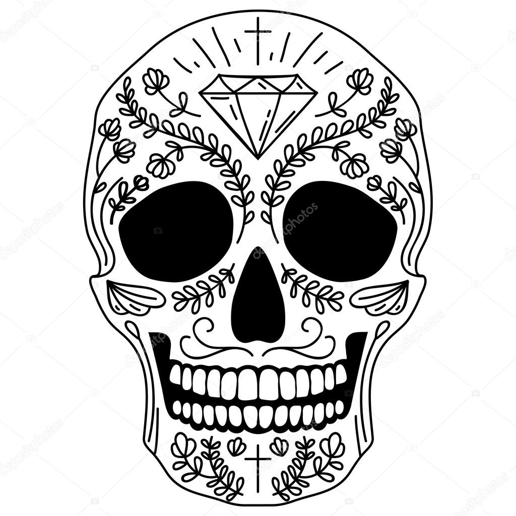 This is a picture of Amazing Black And White Sugar Skull Drawing