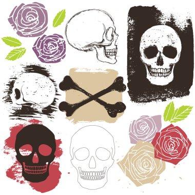 Big grunge set of skulls