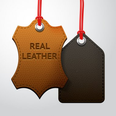 Leather texture tags set, vector set with two black and brown hanging labels stock vector