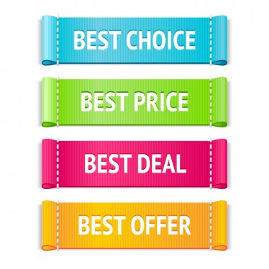 Best choice, price and offer signs