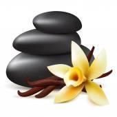 Spa aromatherapy black stones and flower
