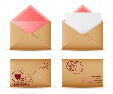 Vector realistic mail envelope set, letter and postal stamps, postal message icon stock vector