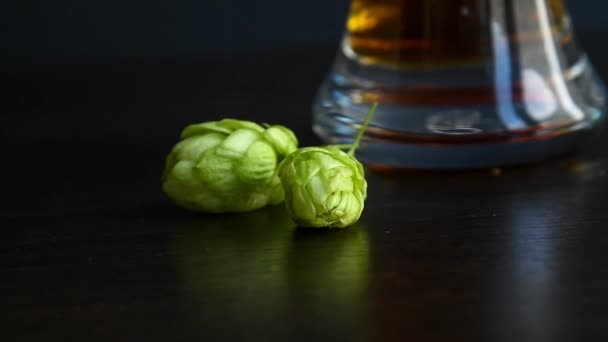 Zelené zralé chmelové šišky leží na stole vedle sklenice plné tmavého piva. Černé pozadí. Selektivní soustředění. Přírodní ingredience pivo vaření téma.