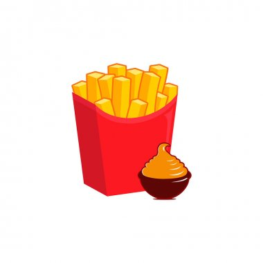French Fries potato fast food in Red Carton Package Box Isolated on White background. Delicious sauce. Vector illustration icon