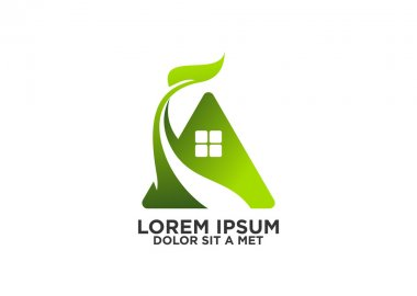 Green home, eco house logo