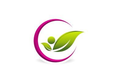 Healthy pose logo, woman beauty design