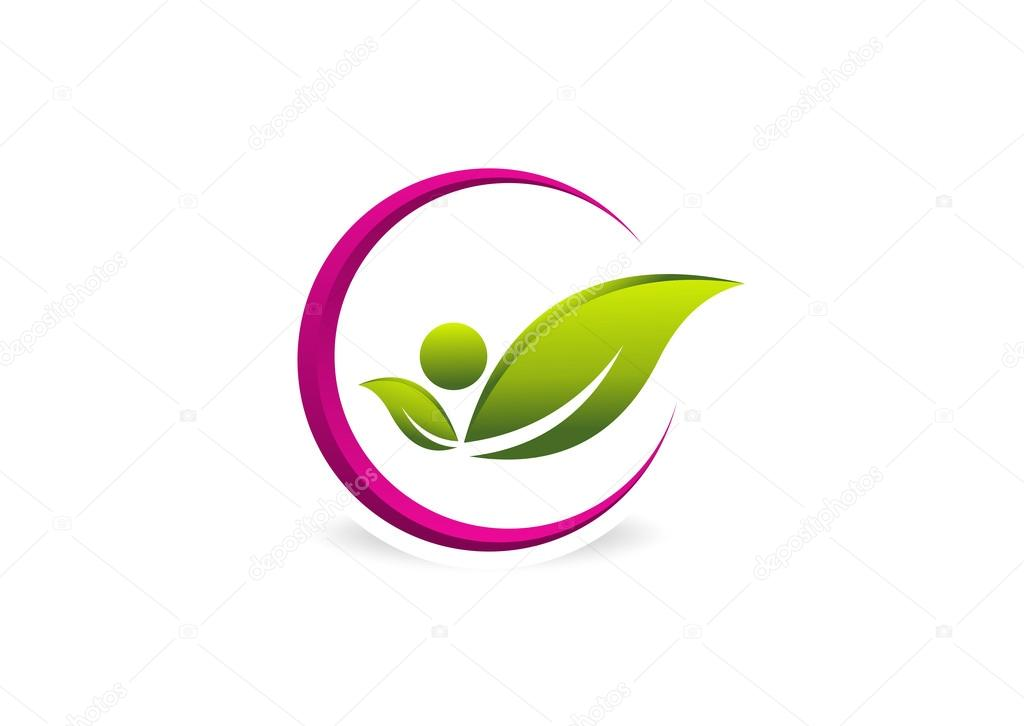 Healthy pose logo, woman beauty design