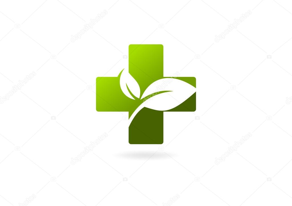 Logo green cross medical leaf natural