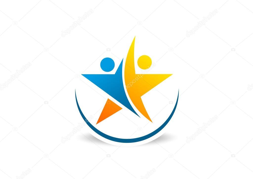 Partnership success star logo