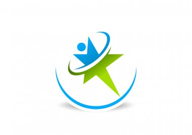 Healthy star success business logo design vector