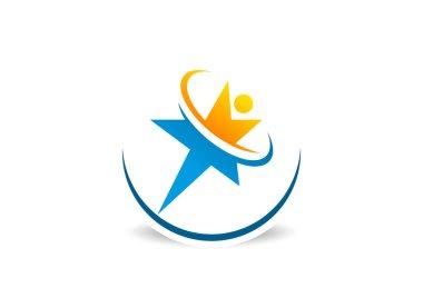 Star success education logo design vector