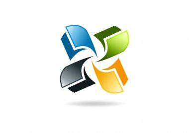 Publising logo, circular paper symbol design icon