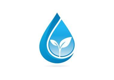 Fresh waterdrop leaf growth logo design symbol vector