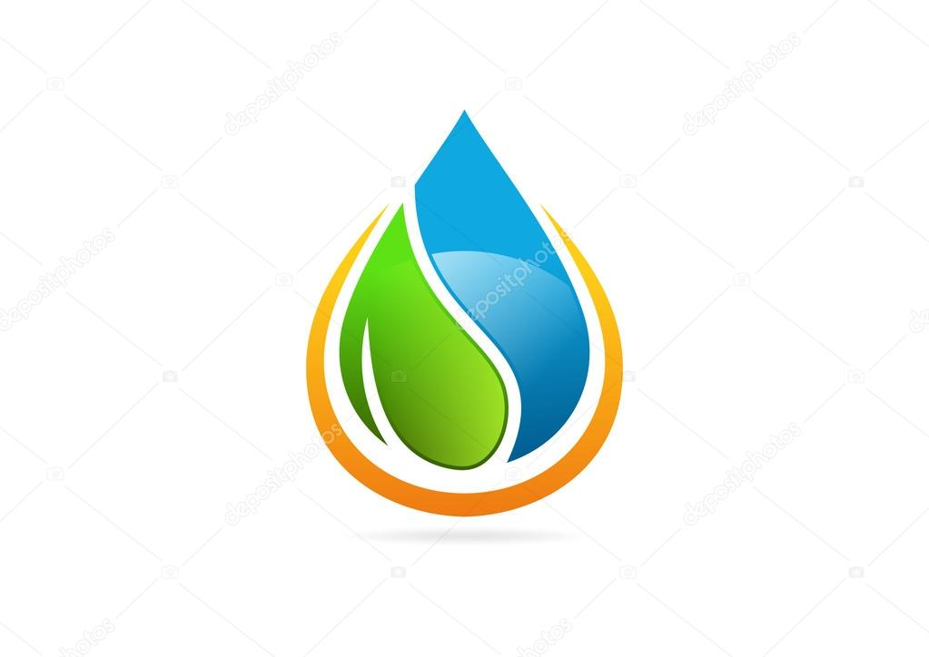 Abstract energy leaf waterdrop logo symbol design